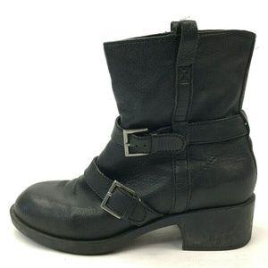 Cole Haan 8 Boots Black Buckle Mid Calf Booties Mo